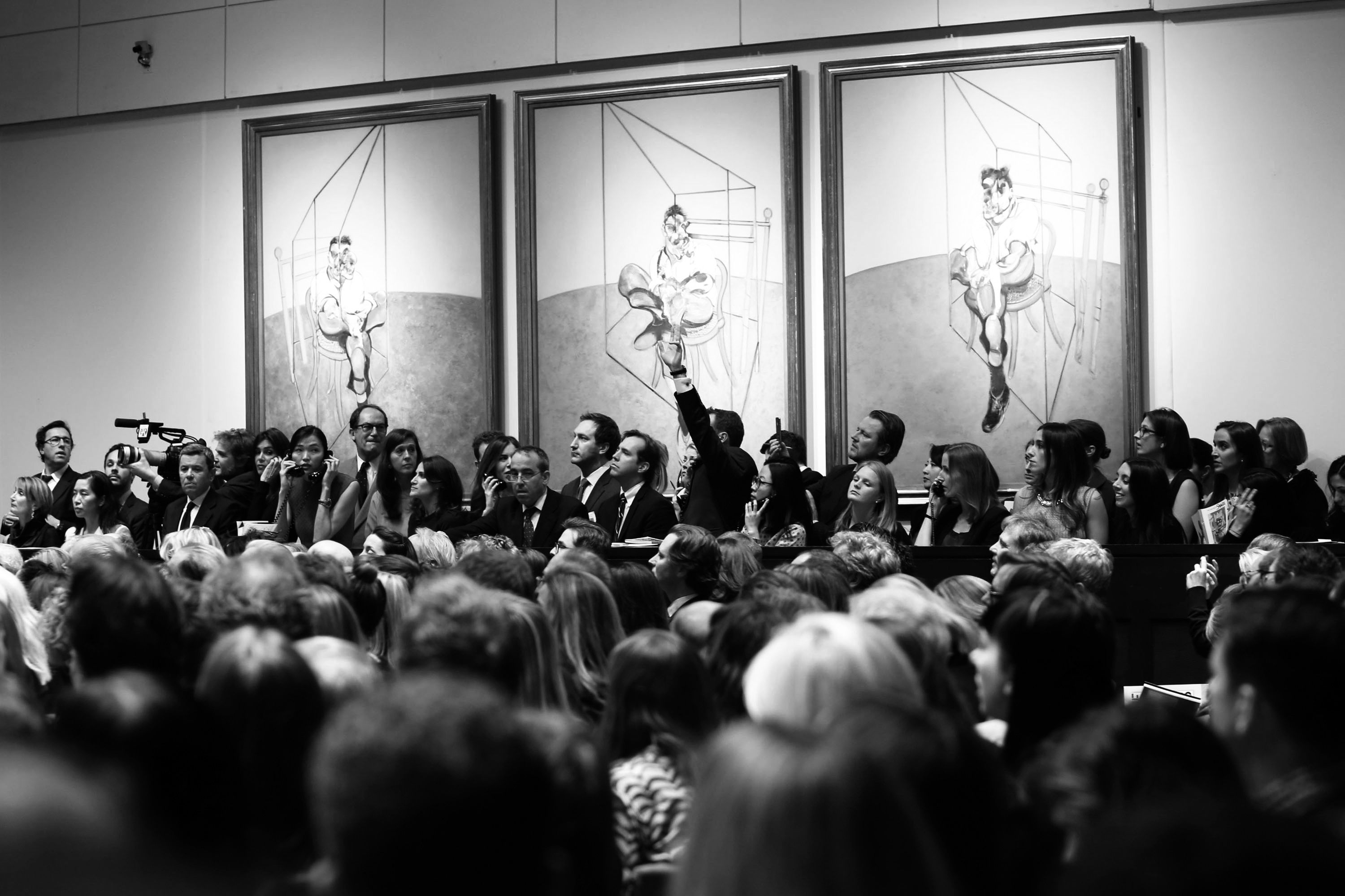 "Handout of the salesroom at Christie's during the auction of Bacon's ""Three Studies of Lucian Freud"" in New York"